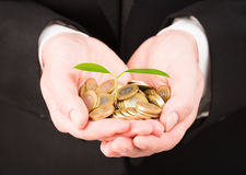 Businessman with coin money and plant. Royalty Free Stock Image