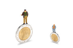 Businessman on coins finance concept. Isolated on white with clipping path Royalty Free Stock Photos