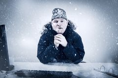 Businessman in a Cold Office with Snow and Ice. Office worker with mustache in cold snow. Frosty Stock Photography