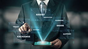 Businessman with Collaboration hologram concept. Businessman with hologram in the future with futuristic tablet with success words stock video