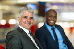 Businessman colleague airport Stock Photos