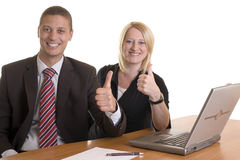 Businessman and colleague express success Royalty Free Stock Photo