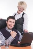 Businessman with colleague work with laptop Stock Photos
