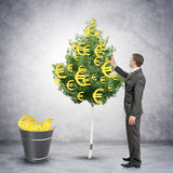 Businessman collecting euro signs from tree Royalty Free Stock Images