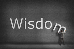 Businessman Collects On The Wall The Word Wisdom Stock Photo