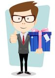 Businessman with colorful gift boxes giving the Royalty Free Stock Photo