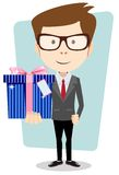 Businessman with colorful gift boxes Vector Stock Images