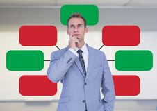 Businessman and Colorful mind map over bright background Stock Images