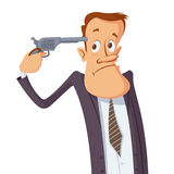 Businessman committing suicide Royalty Free Stock Images