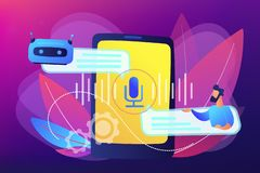 Chatbot voice controlled virtual assistant concept vector illustration. Businessman communicates with chatbot with voice commands. Voice controlled chatbot royalty free illustration
