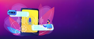 Chatbot voice controlled virtual assistant concept banner header. Businessman communicates with chatbot with voice commands. Voice controlled chatbot, talking stock illustration