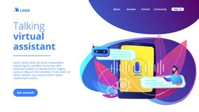 Chatbot voice controlled virtual assistantconcept landing page. Businessman communicates with chatbot with voice commands. Voice controlled chatbot, talking vector illustration