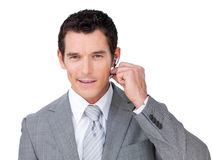 A businessman in communication Stock Image