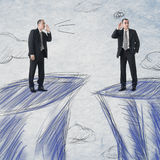Businessman communication. Business man communication from distance. Photo compilation with the same model and hand drawn background Stock Photos