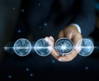Businessman with a compass holding in hand and text word, stars at night background stock photos