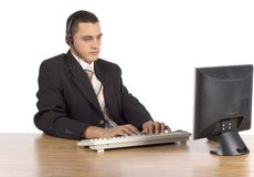 Businessman at the computer stock photos