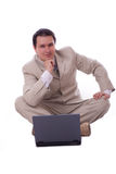 Businessman with computer Royalty Free Stock Photos