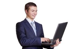 Businessman and Computer Stock Images