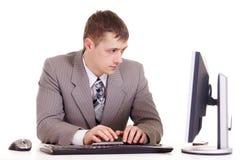 Businessman for computer Stock Photos