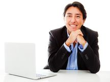 Businessman with a computer Stock Photos