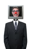 Businessman Computer Clown Isolated, Red Nose. Humorous look at technology, business, computers, and the internet. Comedy for the technically challenged! Royalty Free Stock Photo