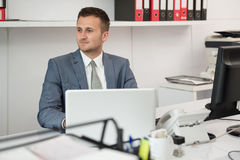 Businessman With Computer Stock Photo