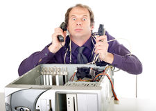 Businessman computer panic Royalty Free Stock Photo