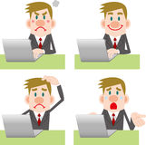 Businessman computer Pose Collection Stock Image