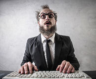 Businessman with computer Royalty Free Stock Photography
