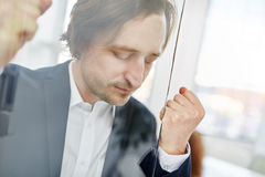 Businessman concentrated. During brainstorming exercice Royalty Free Stock Photography
