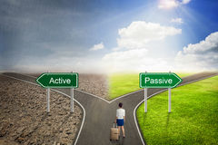 Businessman concept, Active or Passive road to the correct way. Stock Images