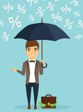 Businessman concept of protecting capital from the rain of percent. Young businessman concept of protecting capital from the rain of percent. Young businessman Stock Image