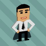 Businessman. Concept for successful people and successful business ideas. 3d pixel art with flat design elements Stock Photo