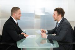 Businessman conducting an employment interview Stock Photo