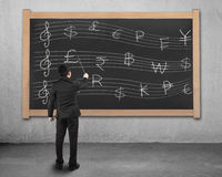 Businessman conducting with money symbols stave on blackboard Stock Photography