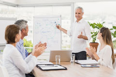 Businessman conducting presentation to colleagues Stock Image