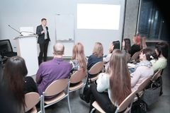 Businessman conducts training for the business team. Business concept stock image