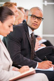 Businessman at the conference. Royalty Free Stock Images