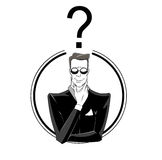 Businessman confused with red question mark. Stock Photography