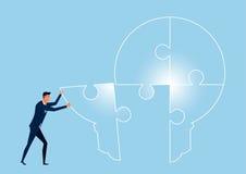 Businessman connect light bulb idea puzzle. Completing light bulb idea. Stock Photo