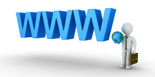 Businessman is connected to the internet. 3d businessman holding the globe and WWW letters Stock Image
