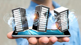 Businessman connecting servers room data center 3D rendering Stock Photos