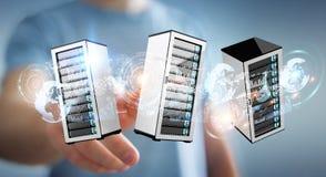 Businessman connecting servers room data center 3D rendering. Businessman on blurred background connecting servers room data center 3D rendering Stock Images