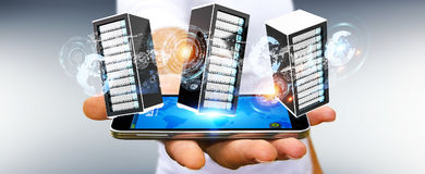 Businessman connecting servers room data center 3D rendering Stock Photography