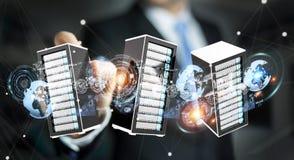 Businessman connecting servers room data center 3D rendering. Businessman on blurred background connecting servers room data center 3D rendering Stock Image