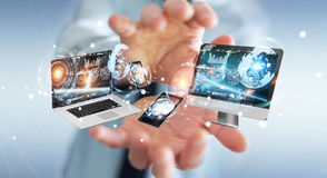 Businessman connecting tech devices to each other 3D rendering Royalty Free Stock Photo