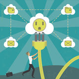 Businessman connecting to the cloud. Illustration of a businessman connecting energy to the cloud. The grunge texture is removable from the background Stock Photo