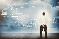 Businessman considering a brainstorm for marketing. In cloudy landscape Royalty Free Stock Image
