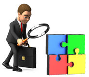 Businessman considering a magnifying glass puzzle. 3d businessman considering a magnifying glass puzzle Stock Image