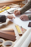 Businessman and construction engineer working together Royalty Free Stock Photos
